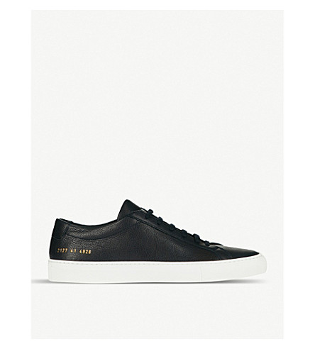 COMMON PROJECTS Achilles low-top grained-leather trainers (Navy+tumble+leather