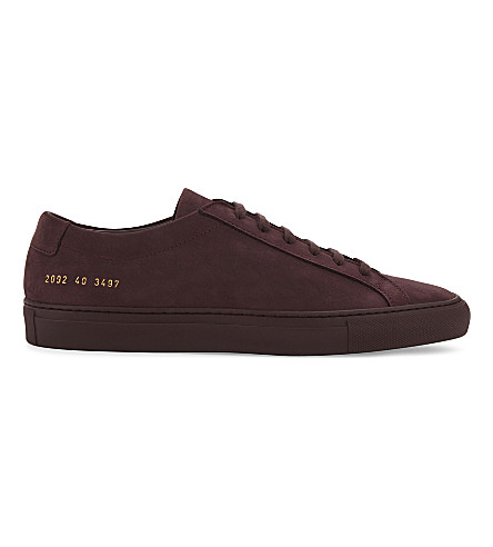 COMMON PROJECTS Original Achilles nubuck low-top trainers (Maroon+mono+nubuck