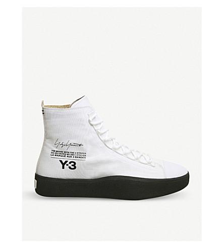 ADIDAS Y3 Y-3 Bashyo 麂皮高运动鞋 (白 + 黑 + 鞋底