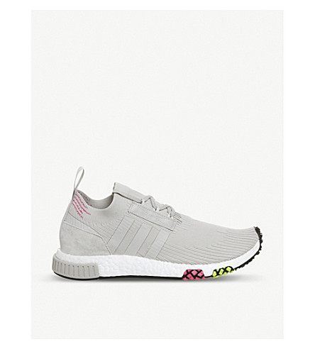 ADIDAS Nmd Racer Primeknit and leather trainers (Grey+one+solar+pink