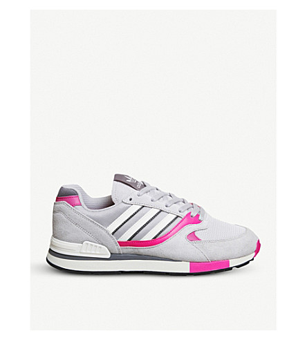 ADIDAS Quesence suede and mesh trainers (Grey+shock+pink
