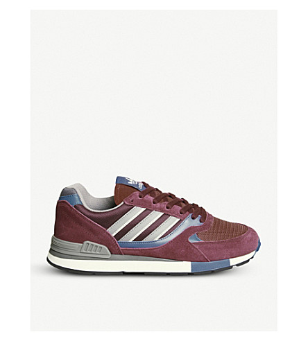 ADIDAS Quesence suede and mesh trainers (Maroon+trace+blue