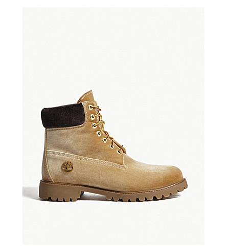 TIMBERLAND Timberland x Off-White lace-up velvet boots (Wheat