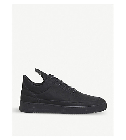 FILLING PIECES Low-top Ripple leather trainers (Black+mono