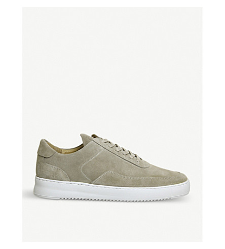 FILLING PIECES Low Mondo leather trainers (Khaki+suede
