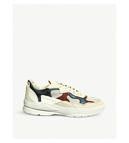 FILLING PIECES Low Fade Cosmo leather trainers (Cream+red+blue