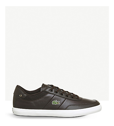 LACOSTE Court Master low-top leather trainers (Dark+brown+off+white