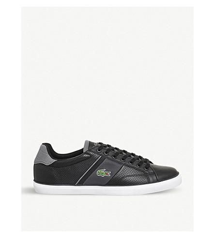 LACOSTE Fairlead perforated leather trainers (Black+dark+grey