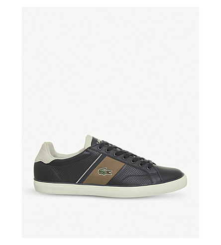 LACOSTE Fairlead perforated leather trainers (Navy light brown