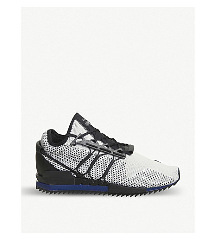 ADIDAS Y3 Y-3 Harigane Primeknit and leather trainers (White+black+blue