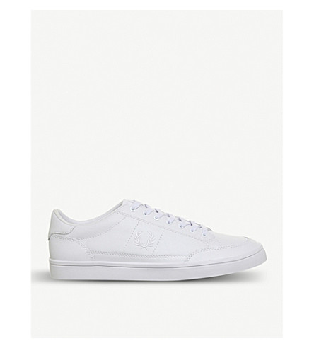 FRED PERRY Deuce leather tennis trainers (White+leather