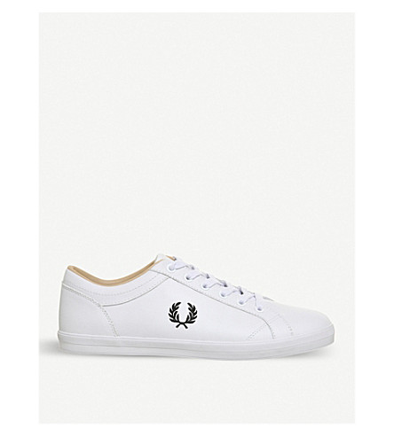 FRED PERRY Baseline leather tennis trainers (White+black