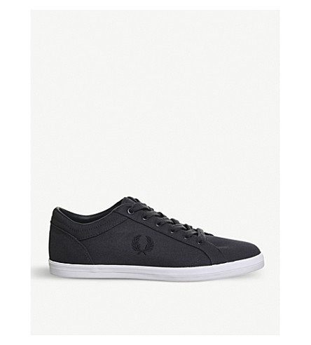 FRED PERRY Baseline low-top canvas trainers (Graphite+charcoal