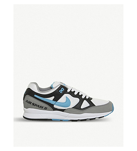 NIKE Air Span II leather and mesh trainers (Black+laser+blue