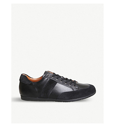 POLO RALPH LAUREN Price leather and suede trainers (Black+black
