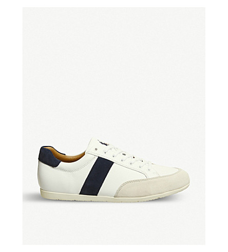 POLO RALPH LAUREN Price leather and suede trainers (White+indigo+ivory
