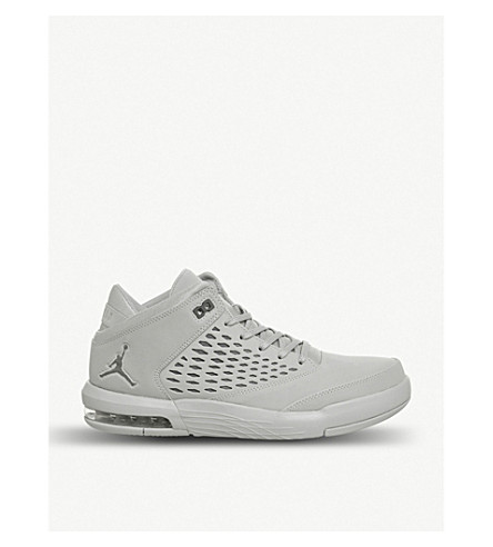 NIKE Jordan Flight Origin 4 leather and mesh trainers (Wolf+grey+cool+grey