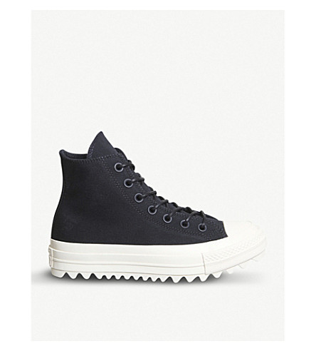 CONVERSE Chuck Taylor All Star Lift Ripple canvas high-top flatform trainers (Black+black+natural