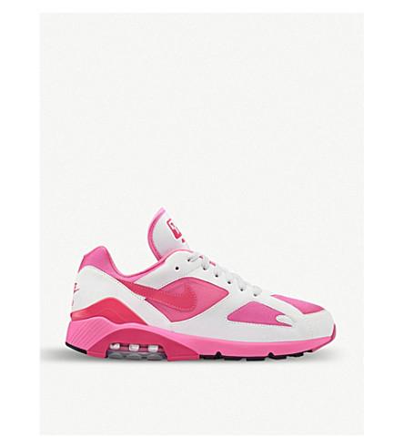 COMME DES GARCONS戴高乐 X Nike空气最大180仿皮革和网眼训练师 (白色 + 粉红色