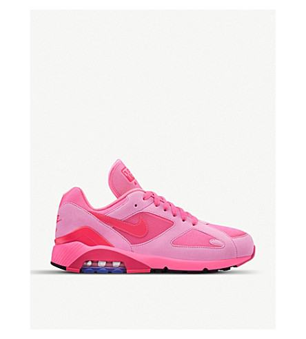 COMME DES GARCONS CDG X Nike Air Max 180 faux-leather and mesh trainers (Pink+pink