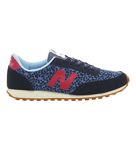 NEW BALANCE 410 suede and mesh trainers (Blue pink floral
