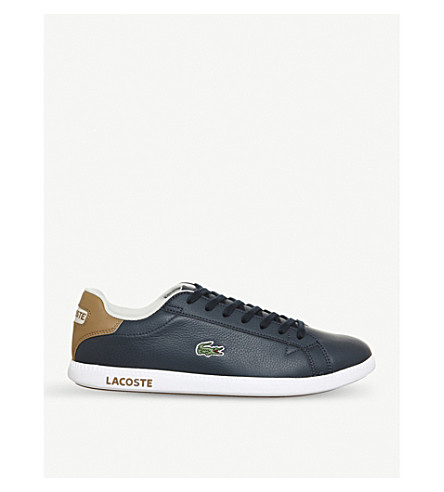 LACOSTE Graduate low-top leather trainers (Navy light brown