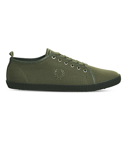 FRED PERRY Kingston low-top canvas trainers (Dark+olive+black