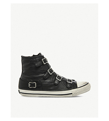 ASH Virgin leather high-top trainers (Black+nappa+wax