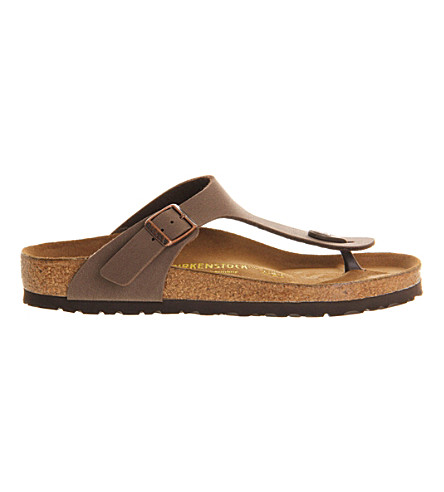 BIRKENSTOCK Faux-leather thong sandals (Brown+moca
