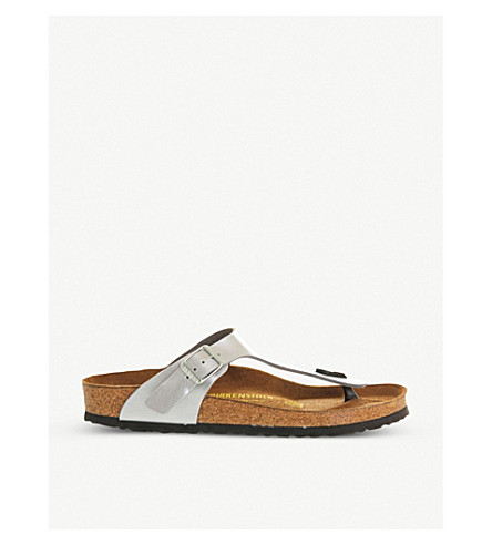 BIRKENSTOCK Faux-leather thong sandals (Silver+syn