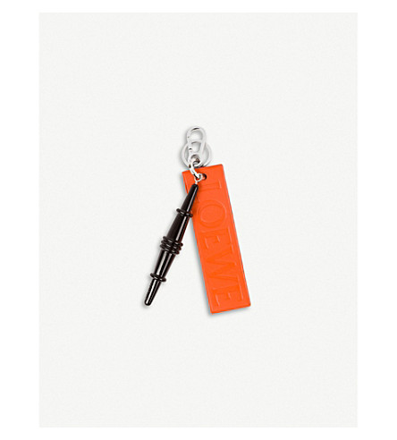 LOEWE Sussex Chair Leather Keyring (Black/orange