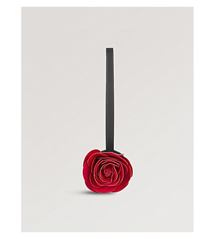 LOEWE Rose leather bag charm (Bright+red