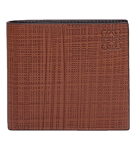LOEWE Bi-fold leather wallet (Dark+tan