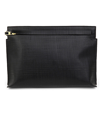 LOEWE Large textured leather pouch (Black