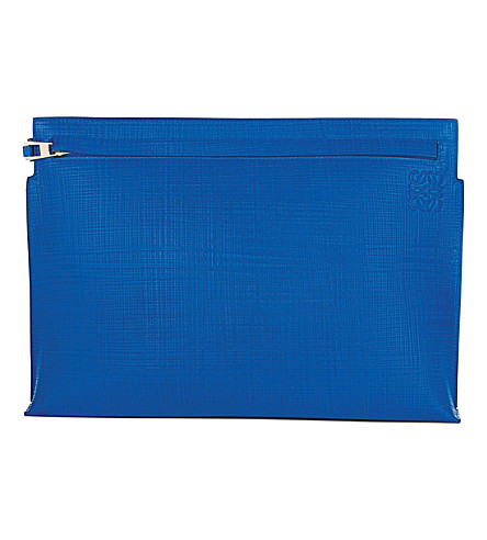 LOEWE Large textured leather pouch (Electric blue