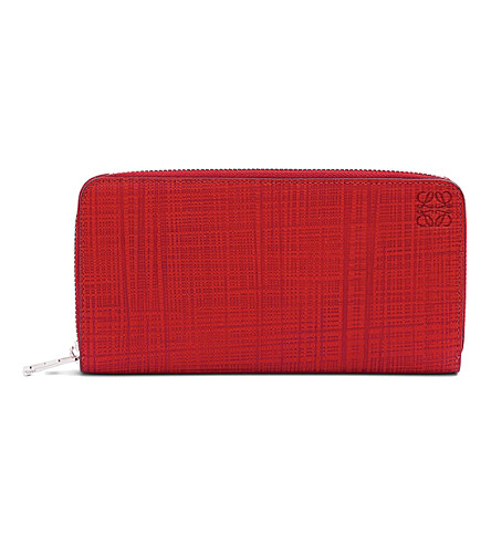 LOEWE Zip-around leather wallet (Primary+red