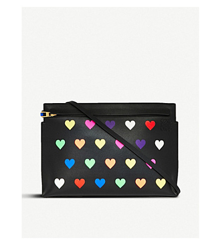 LOEWE Hearts leather T pouch (Black/multicolor