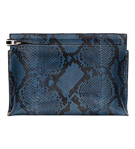 LOEWE Large python leather pouch (Turquoise
