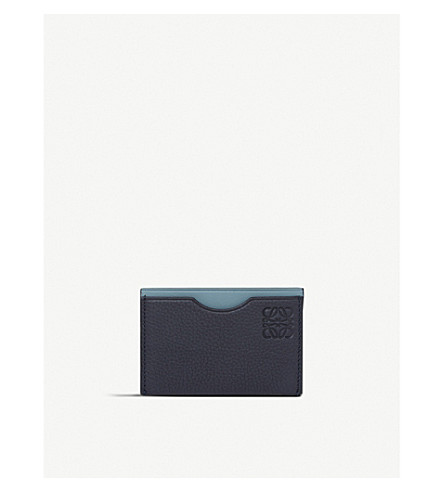 LOEWE Embossed leather card holder (Midnight+blue/blue
