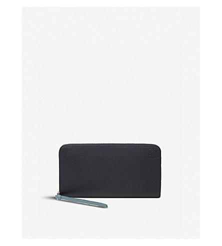 LOEWE Large zip around leather wallet (Midnight+blue/blue