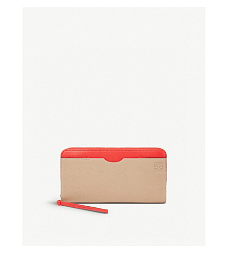 LOEWE Zip Around leather wallet (Sand/red