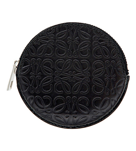 LOEWE Cookie embossed leather coin purse (Black