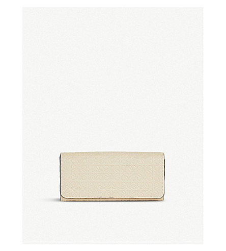 LOEWE Continental logo-embossed leather wallet (Ivory