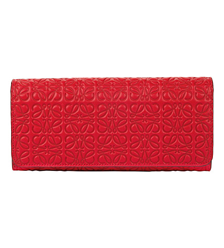 LOEWE Continental logo-embossed leather wallet (Primary+red
