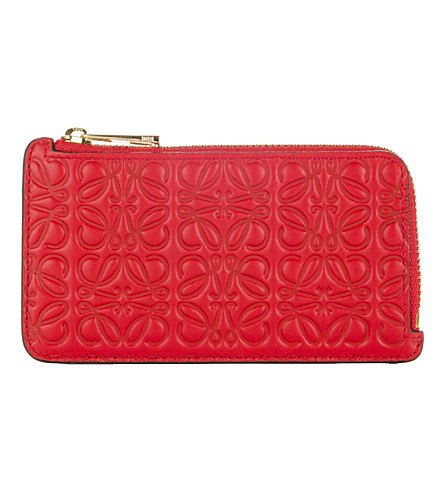 LOEWE Engraved leather card holder (Primary+red