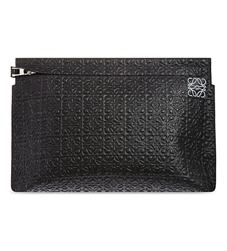 LOEWE Logo-embossed large leather pouch (Black