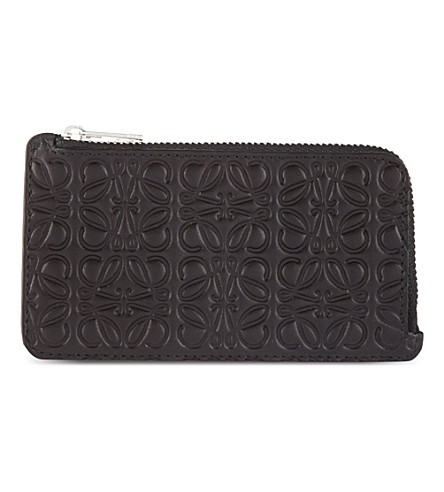 LOEWE Leather coin and card holder (Black