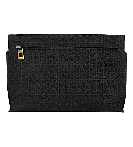 LOEWE Medium logo-embossed leather t pouch (Black