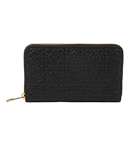 LOEWE Medium engraved logo zip-around wallet (Black