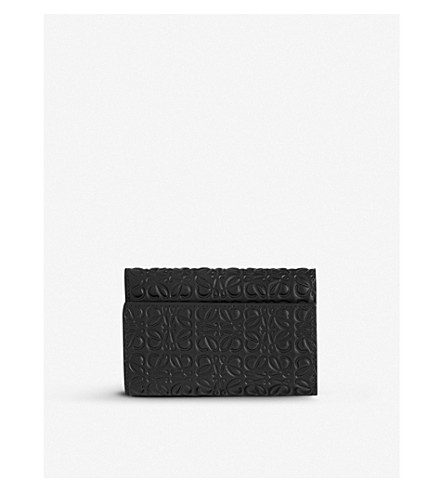 LOEWE Embossed leather small wallet (Black